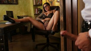Tatted up slut Karmen_Karma shows her big-dicked man who is boss image
