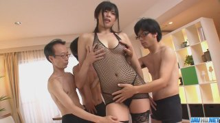 Three guys get a japanese girl More at javhdnet image