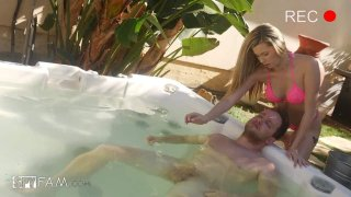 Horny Stepsis Gives Stepbro A Hot_Tub Hand Job image