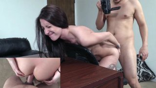 Skinny Tattooed Chick's Anal Ride on_Couch image