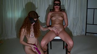 Young lesbians playing BDSM image