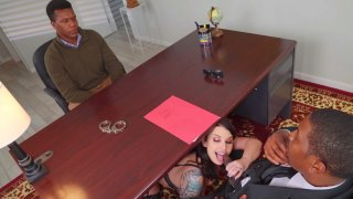 Ivy Lebelle gives blowjob to Isiah Maxwell in the office image