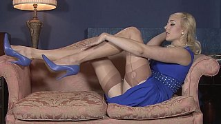 Blonde housewife in vintage_lingerie image