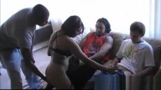 Hot amateur ebony babe gangbanged on_sex party image