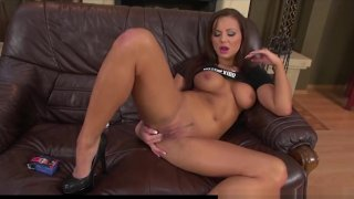 Image: Shayla Green strips and Masturbates her Shaved Pussy 2
