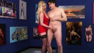 CFNM fetish babe dominates guy in public image