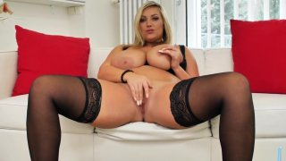 Big titted blonde Czech milf masturbating her shaved pussy image