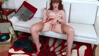 Redhead babe tease pert tits wet pussy in retro red lingerie image