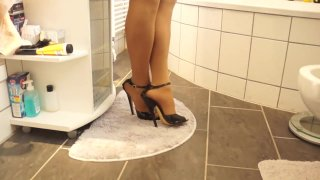 Sexy Black 17cm High Heels Sandals walking Bathroom image