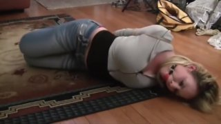 Image: hogtied and ball gagged