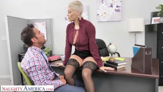 Image: Brenda Philips (Ryan Keely) Gives Her Employee a Big Raise in His Pants