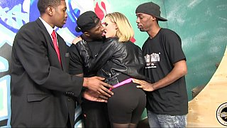 Image: Blonde milf gets gangbanged by black dudes