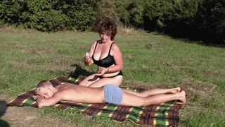 Brunette BBW-Milf Outdoors by Young Guy image