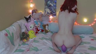 Cute redhead babe with small tits masturbates and toys herself image