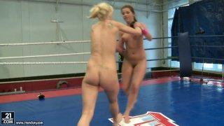 Zesty redhead hoe Angel Rivas in her first nude wrestling battle image