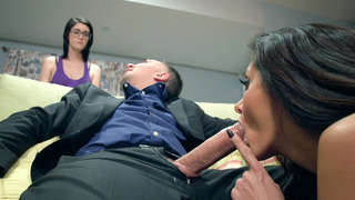 Ava Addams sucks Keiran's rod to keep him away from her daughter image
