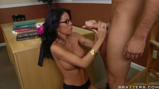 Horny teacher Tabitha Stevens gets her asshole polished right in a lecture room image