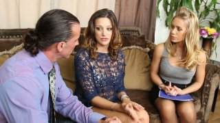 Carmen McCarthy seduces real estate agents Nicole Aniston and_her partner to have a hot threesome fuck image