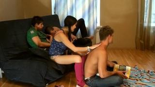 Image: Mya Dark & Kathy & Rene & Yiki in real college sex video with plenty of hot gals