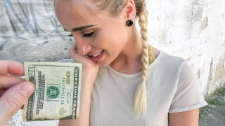 Hot blonde cheated for money in public image