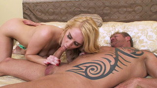 Blonde cutie Cadence Lux gives nice blowjob to the older dude image