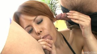 Naughty japanese whore Moe Aizawa sucking two dicks and stroking with hands intensively image