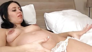Pregnant Kristyna Fucks Her Shaved Pussy! image