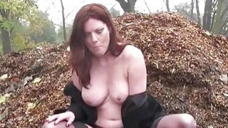 Redhead Holly Kiss flashing in public and outdoor image