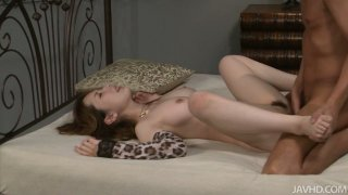 Yui Hatano is creampied by two guys in a threesome image