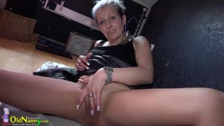 OldNanny Granny with piercing in her pussy is mast image