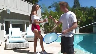 Amazing brunette teen_Nina North seduces and fucks the pool man image
