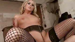 Blonde in fishnet stockings_gets her ass drilled image