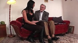 Young college girl licked and fucked by old man image