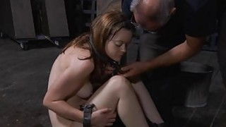 Tied up beauty receives pleasuring for_her vagina image