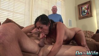 Asian Wife Lucky Starr Is Pounded by a Stranger as Her Husband Looks On image
