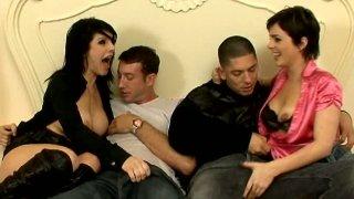 Brunette sluts Daisy Rock & Isabel Ice blow two cocks image