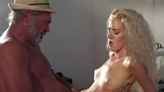 Sexy young blonde fucks_grandpa_swallows cumshot image