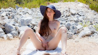 Hot chick Leila fingers her twat in HD art porn image