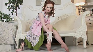 Redhead in vintage clothes image