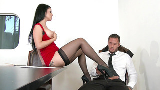 Slutty boss Katrina Jade teasing and seducing her co-worker image