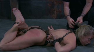 Chain bondage for gfilthy disgraceful blonde whore Dia Zerva image