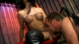 Spoiled brunette Leah Wilde humiliates naked dude and gonna have rough sex image