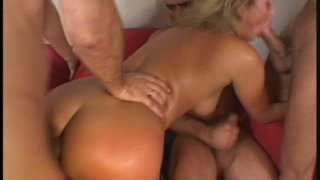 Even triple penetration is not enough for slutty blonde Mandy Bright image