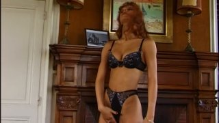 Red head slut Monica Rossi blows two_cock and rides_one actively image