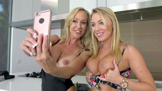 Zoey Taylor and Brandi Love get topless and send Zoey's boyfriend some naughty pics image