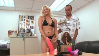 gay josh long max and gatos - Playful bitch cameron cain pokes her tight pussy with a long dildo and gives a blowjob image