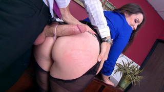 Lola Foxx takes monster cock through the hole in her pantyhose image