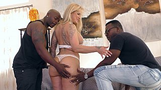 Interracial MMF cuckold with a MILF image