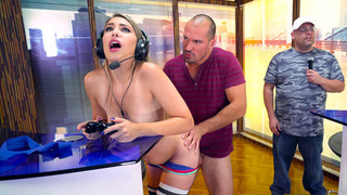 Kimber Lee having steamy sex on a video game competition image
