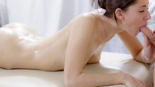 XXX massage video of cute brunette screwed in the butt image